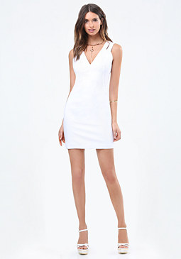 bebe Twill Double Strap Dress