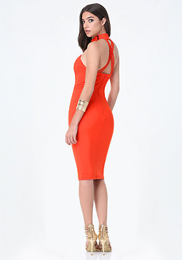 bebe Back Crisscross Midi Dress