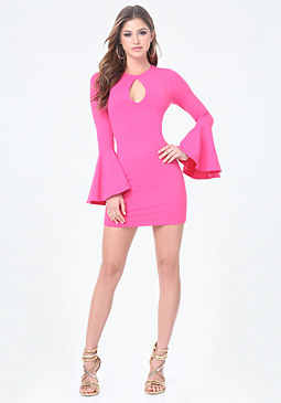 bebe Bell Sleeve Bodycon Dress