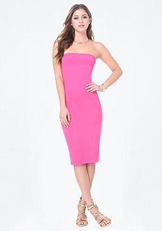 Solid Strapless Midi Dress