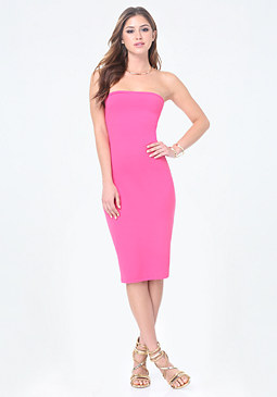 bebe Solid Strapless Midi Dress