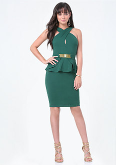 Wrap Neck Peplum Dress