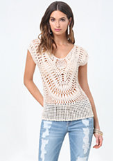 bebe Crochet Sweater Top