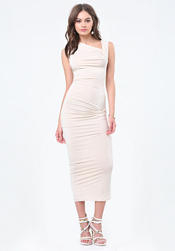 bebe Shirred Midi Dress
