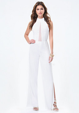 bebe Sheer Cutout Jumpsuit