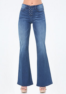 bebe Lace Up Flared Jeans