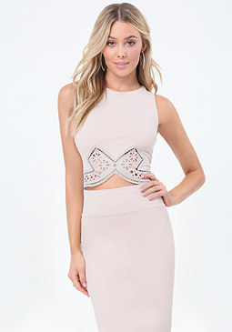 bebe Eyelet Trim Crop Top