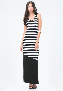 bebe Stripe Block Maxi Dress