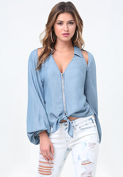 bebe Chambray Slit Blouse