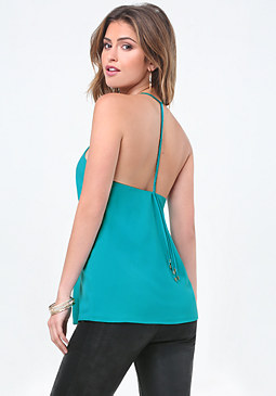bebe Braided Strap Halter Top