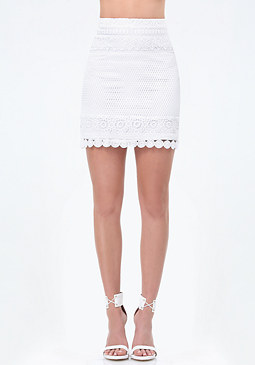 bebe Mix Lace A-Line Skirt