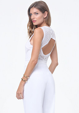 bebe Mix Lace Open Back Top