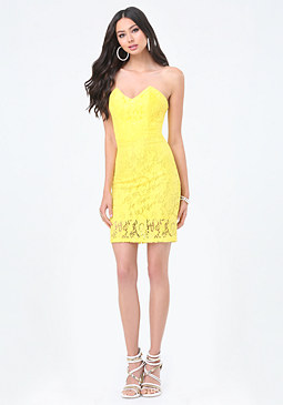 bebe Petite Lace Strapless Dress