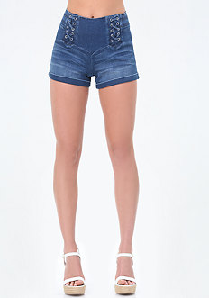 Denim Double Lace Up Shorts