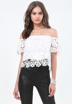 bebe Lace Off Shoulder Top