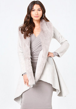 bebe Faux Fur Trim Coat