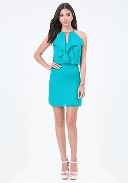 bebe Ruffle Front Dress