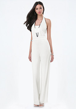 bebe Metal Bar Halter Jumpsuit