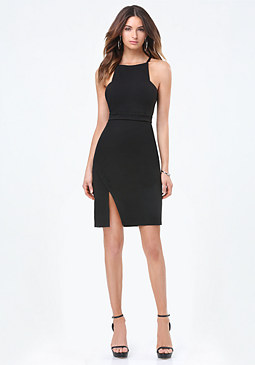 bebe Slant Slit Strappy Dress