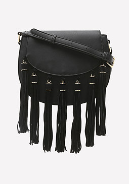 bebe Fringe Saddle Bag