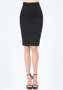 bebe Geo Lace Pencil Skirt