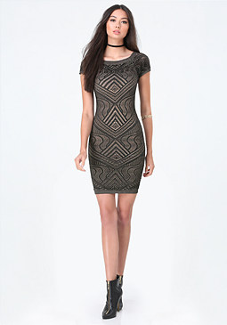 bebe Ornate Pattern Dress