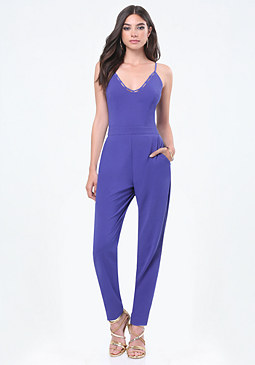 bebe Laced Neck Jumpsuit