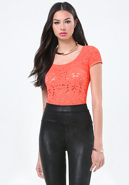 bebe Allover Lace Scoopneck Top