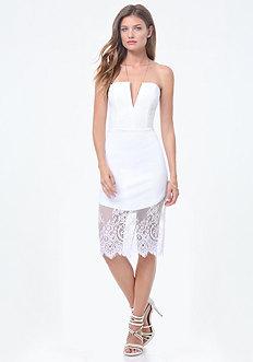 Lace Trim V-Notch Dress