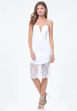 bebe Lace Trim V-Notch Dress
