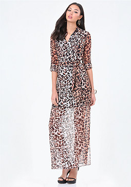 bebe Print Maxi Shirtdress