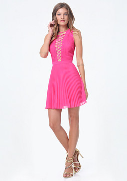 bebe Pleated Lace Up Dress