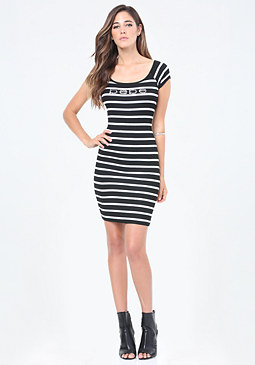 bebe Logo Striped Mini Dress