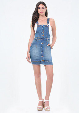 bebe Front Button Overall Dress