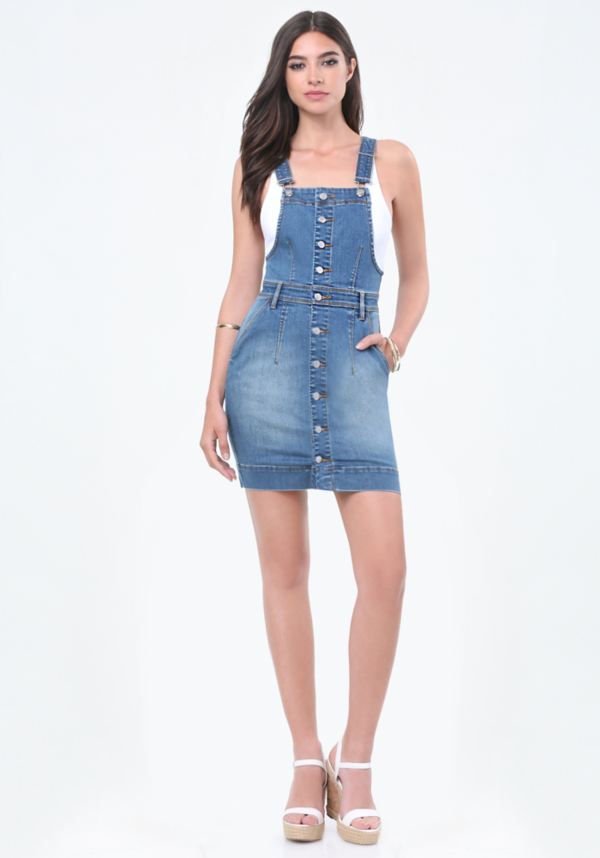 Front Button Overall Dress