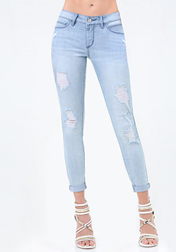 bebe Slashed Heartbreaker Jeans