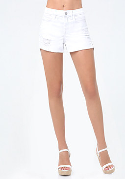 bebe White Denim Hi-Lo Shorts