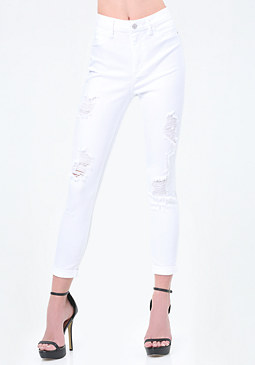 Destroyed High Rise Jeans at bebe