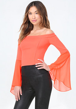 bebe Dreamy Bell Sleeve Top