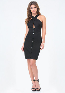 bebe Snap Front Crisscross Dress