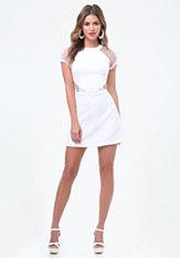 bebe Lace & Fishnet Mesh Dress