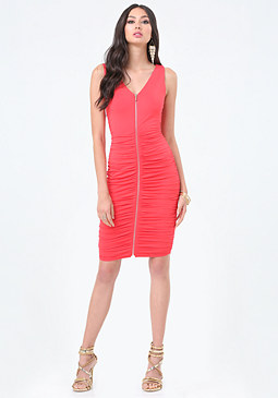 bebe Zip Front Shirred Dress