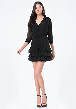 bebe Ruffled Skirt Dress