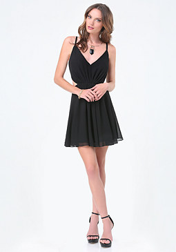 bebe Cutout Deep V-Neck Dress