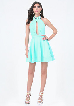 bebe Crystal Neck Halter Dress