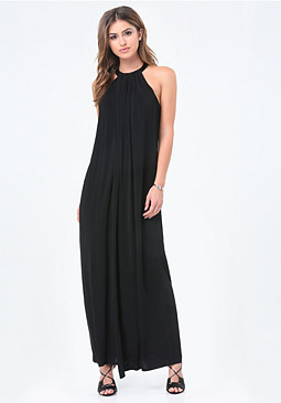 bebe Leather Trim Maxi Dress