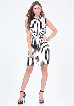 bebe Sleeveless Shirtdress