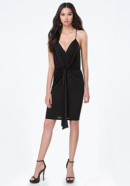 bebe Draped Slinky Jersey Dress