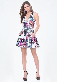 Print Scuba Deep V Dress