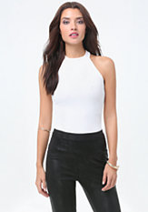 bebe Ribbed Halter Cut Top